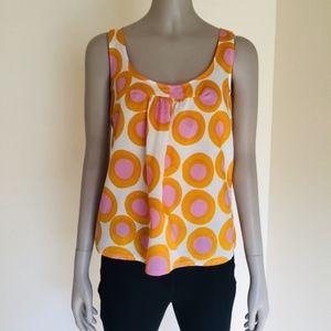 Marimekko Anthropologie mod top orange pink white